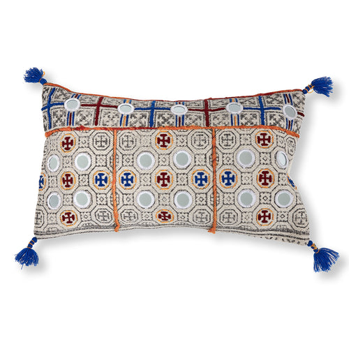 Celestine Cushion - Multicoloured Tiled Print 100% Cotton 30 x 50 cm - Home-Buy Interiors