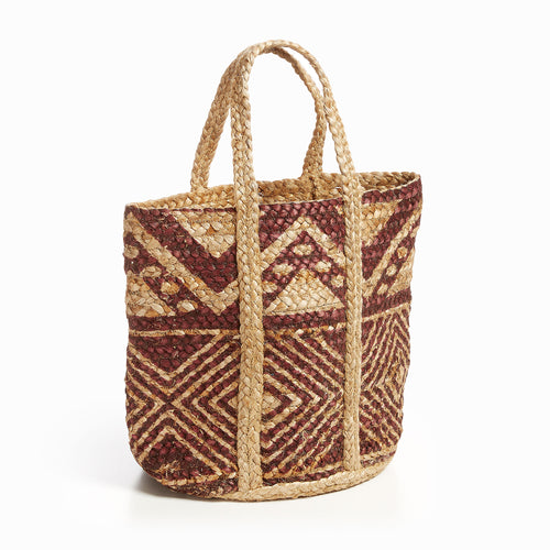 Sandy Basket - Basket with Handles and a Printed Burgundy Geometric Pattern, Basket - Home-Buy Interiors