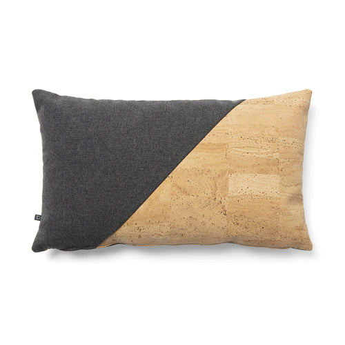 Maia Cushion - Cork & Graphite and Light Grey Fabric 30 x 50 cm - Home-Buy Interiors