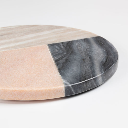 Zohar Round Trivet - Made of Marble with a Geometric Design - Home-Buy Interiors