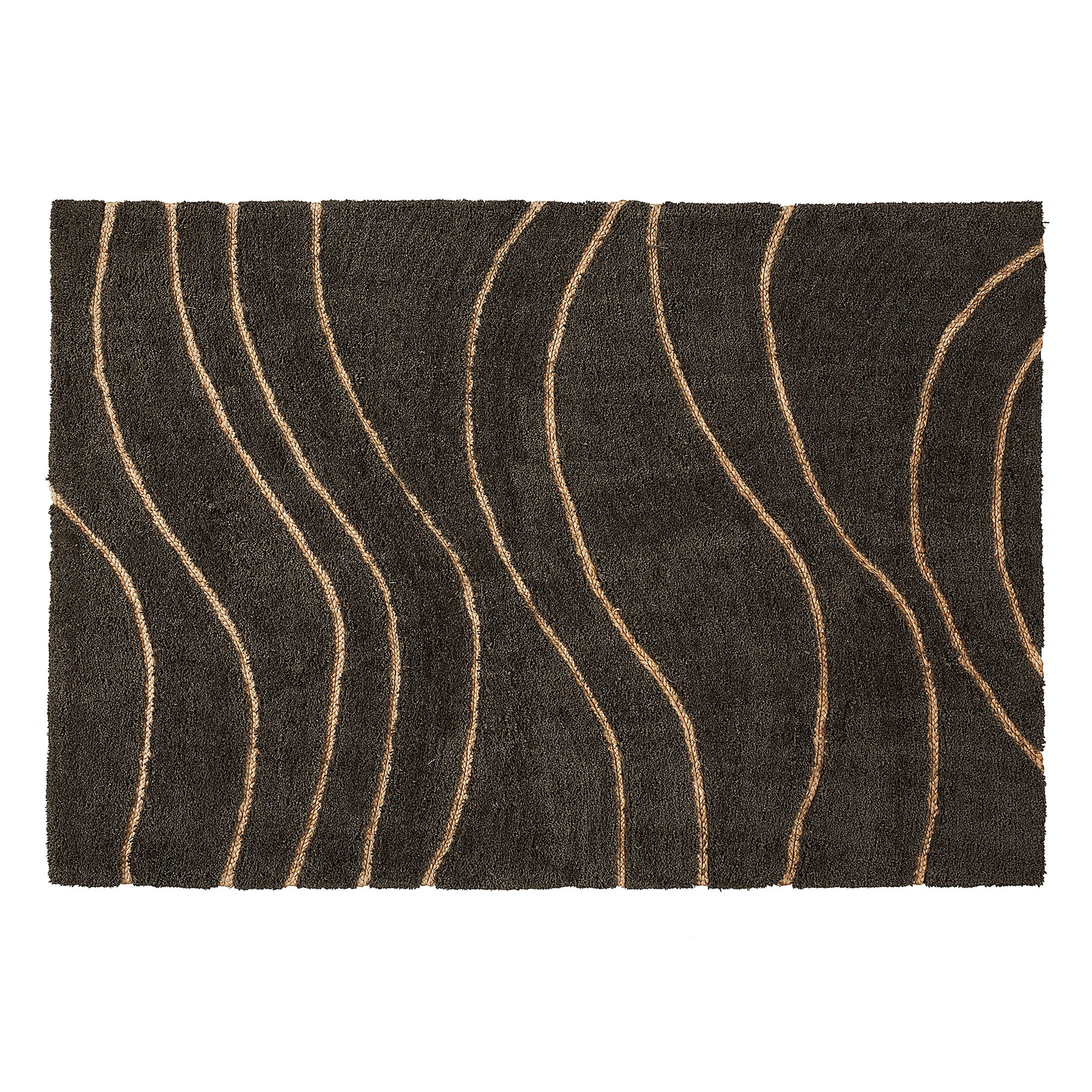 Matthias Rug - Made of Wool and Dark Grey Viscose with Curved Lines 160 x 230 cm, Rug - Home-Buy Interiors