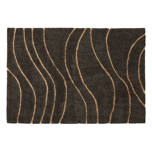 Matthias Rug - Made of Wool and Dark Grey Viscose with Curved Lines 160 x 230 cm - Home-Buy Interiors