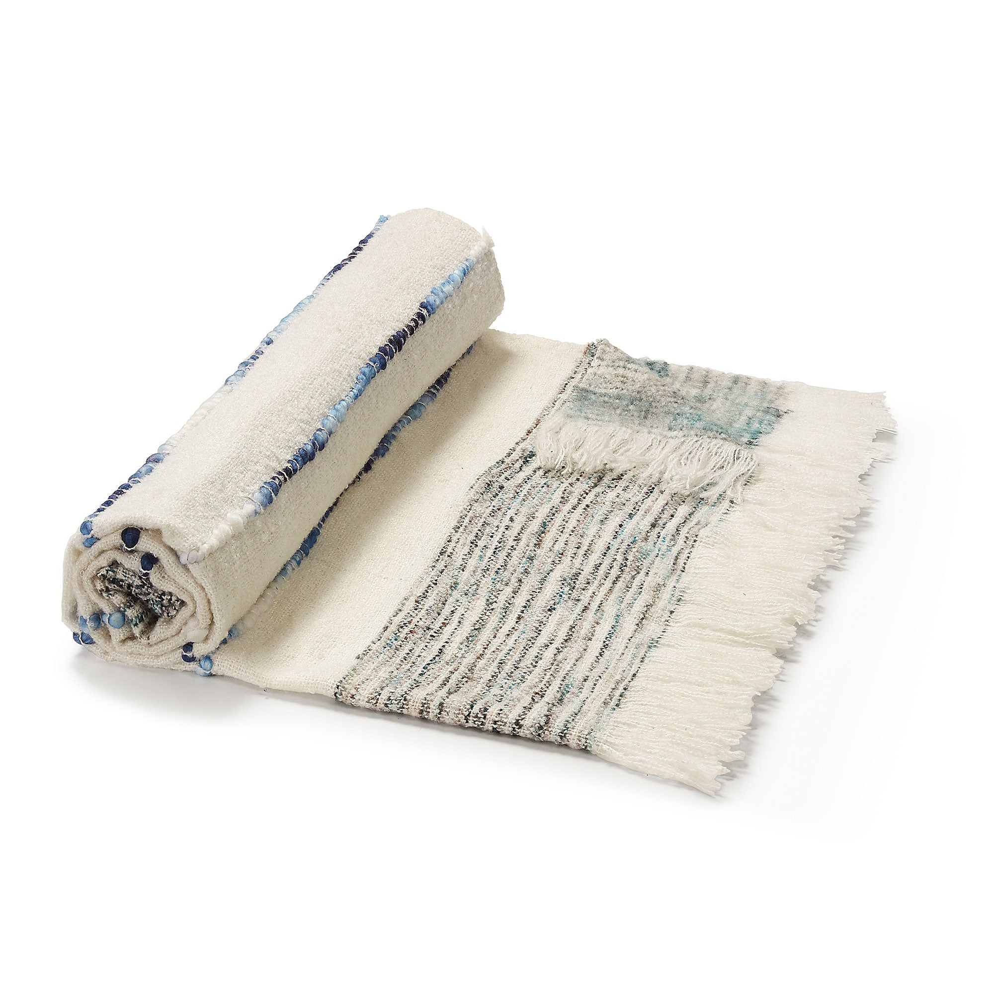 Taylah Handmade Blanket - White and Blue Plaid Blanket with Fringes 125 x 150 cm, Blanket - Home-Buy Interiors