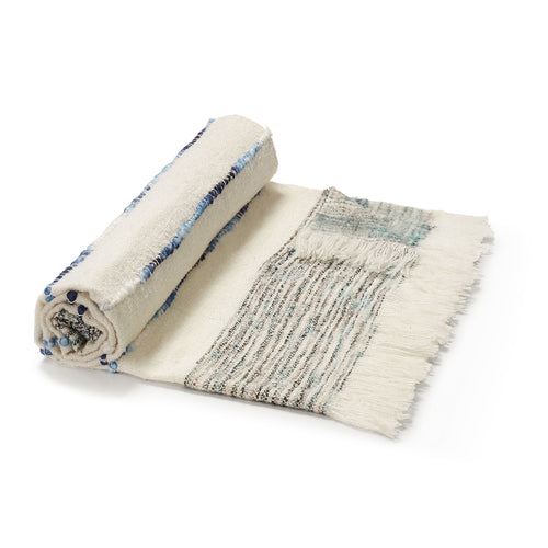 Taylah Handmade Blanket - White and Blue Plaid Blanket with Fringes 125 x 150 cm - Home-Buy Interiors