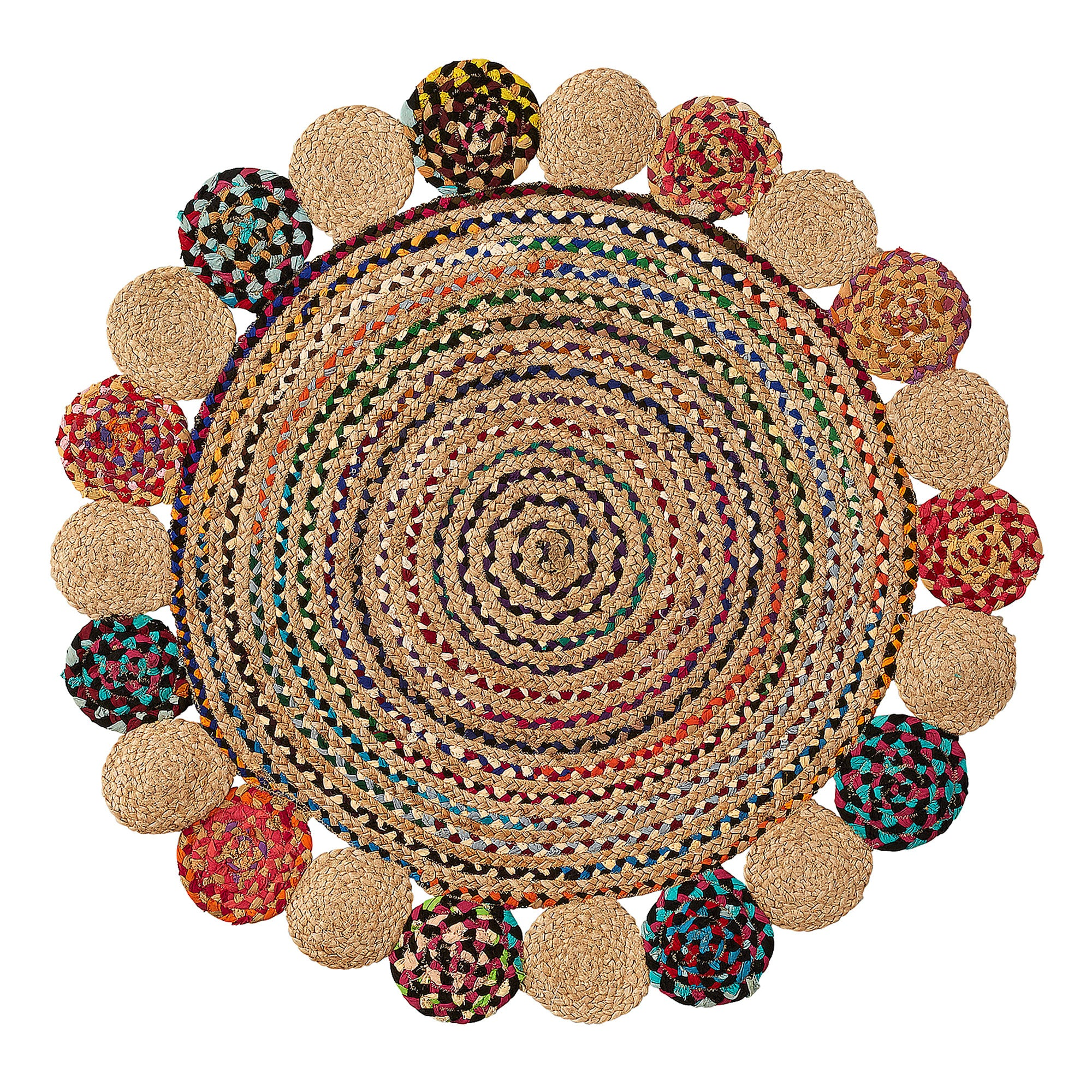 Lilly-May Round Rug - Natural Jute & Cotton Spiral 100cm diameter, Rug - Home-Buy Interiors