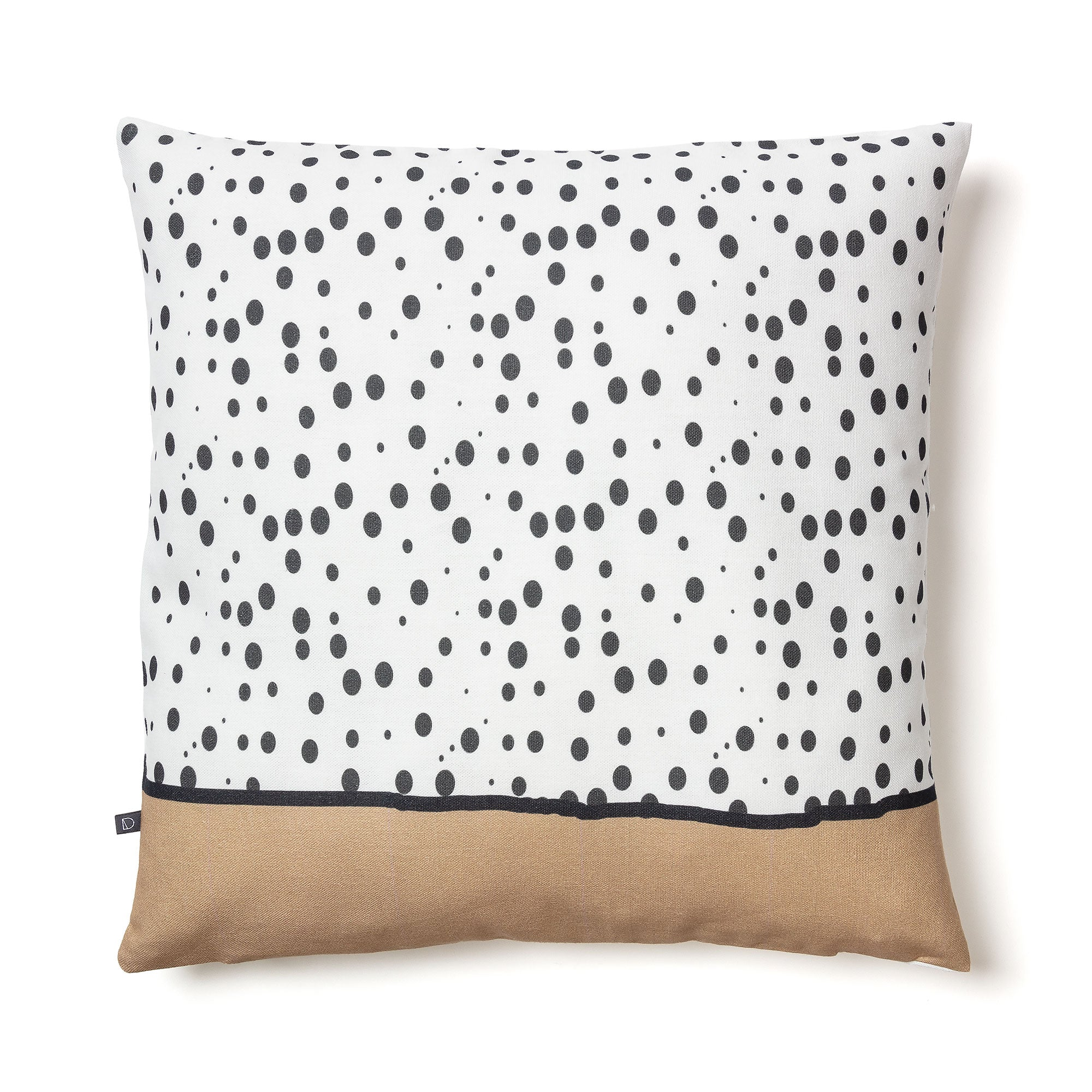 Heidi Cushion - White Fabric with Dark Grey Polka Dots and Beige Print 45 x 45 cm, Cushion - Home-Buy Interiors