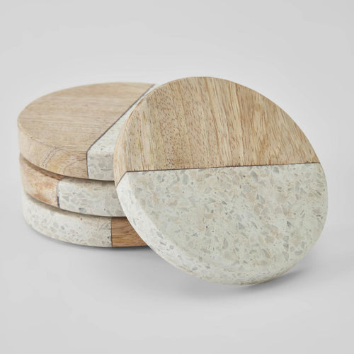 August terrazzo and timber set of 4 coasters