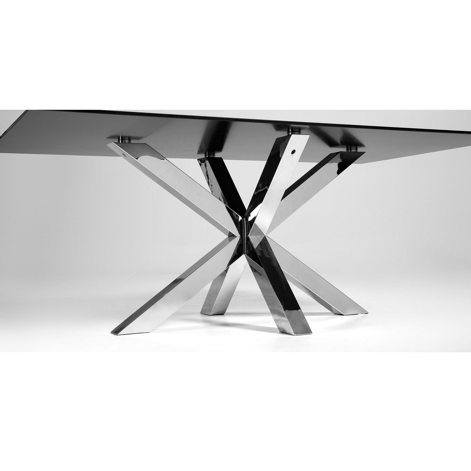 Mermi 200cm Dining Table in Black Glass & Stainless Steel