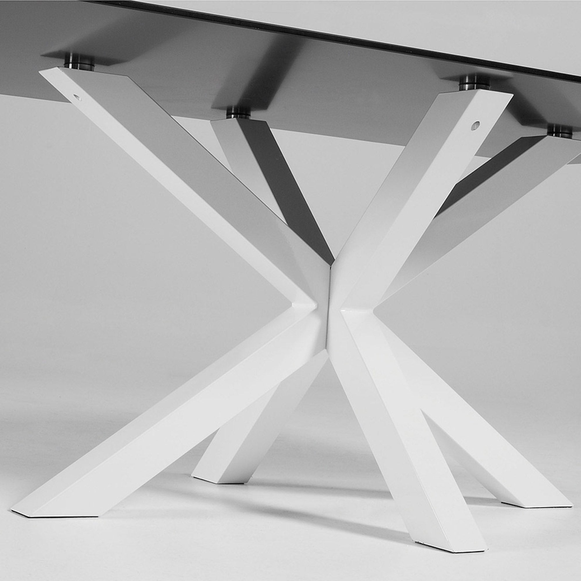 Mermi 200cm Dining Table Black Glass & White Leg
