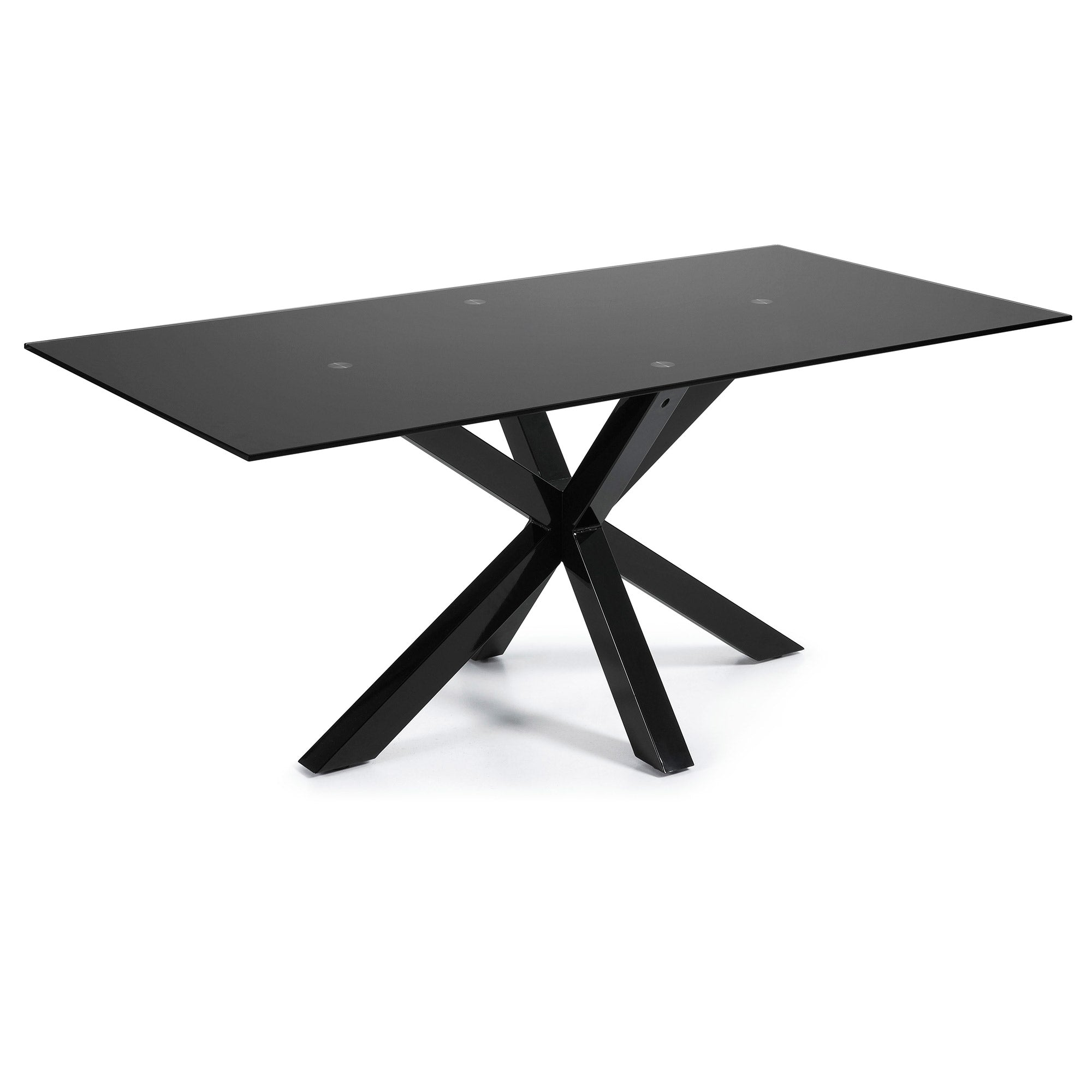 Mermi 200cm Dining Table Black Glass & Black Leg