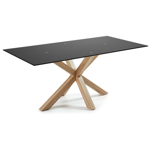 Mermi 200cm Dining Table in black glass & natural leg