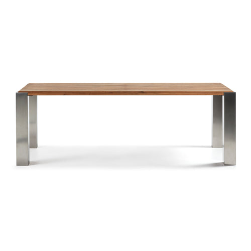 Orzito RUSTIC Table 220 x 100 Est Steel Top Oak Natural, Table - Home-Buy Interiors