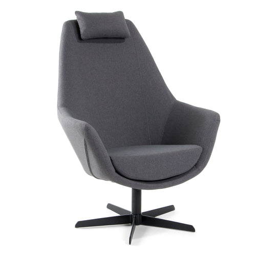 Schul Armchair with black metal frame and Dark Grey fabric, Chair - Home-Buy Interiors