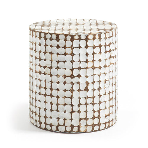 Coconut Mosaic Tile Side Table