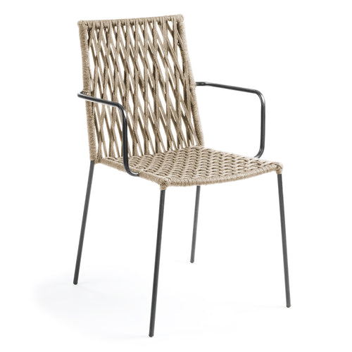Plasti Armchair Metal Frame & Beige Rope Seat, Chair - Home-Buy Interiors