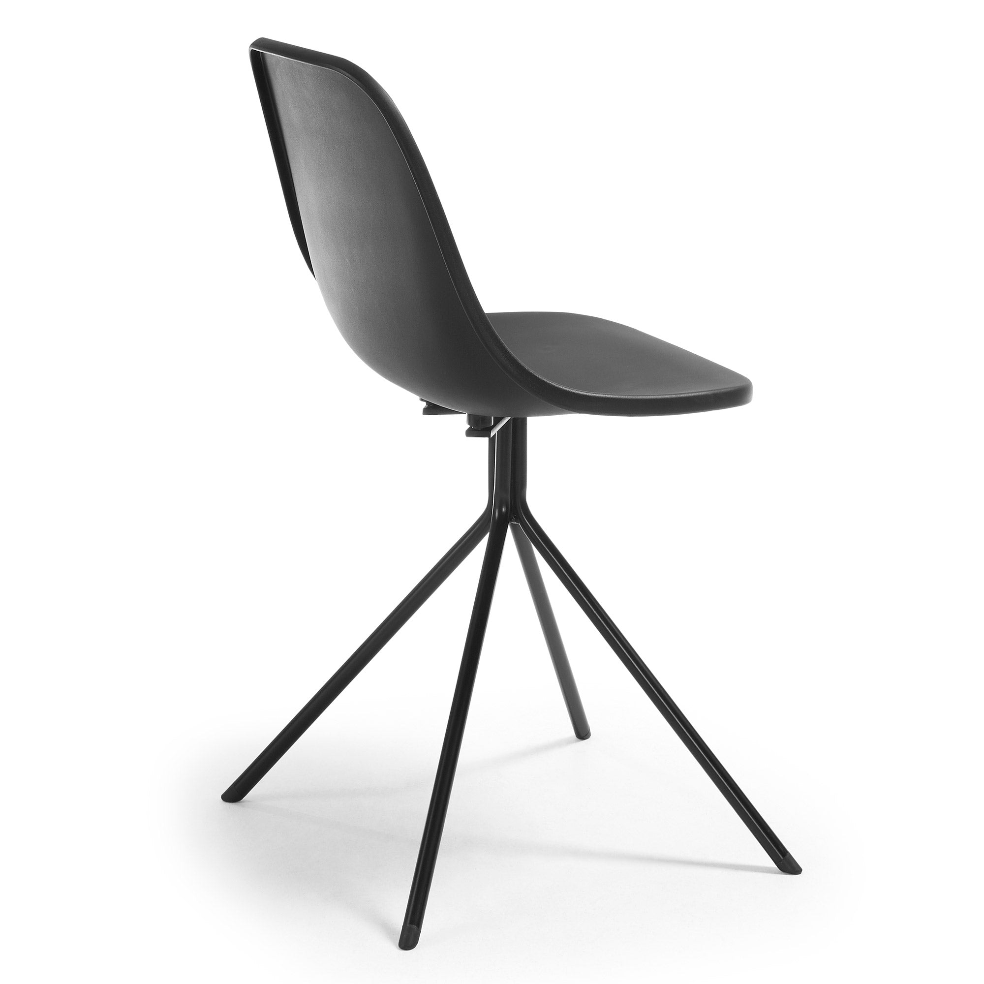 Marco Chair - Black plastic seat and steel legs, Dining Chair - Home-Buy Interiors
