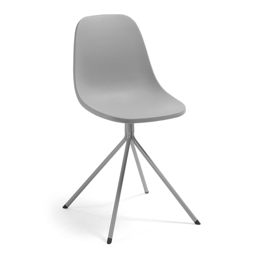 Marco Chair - Grey plastic seat and steel legs, Dining Chair - Home-Buy Interiors
