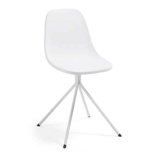 Marco Chair - White plastic seat and steel legs, Dining Chair - Home-Buy Interiors
