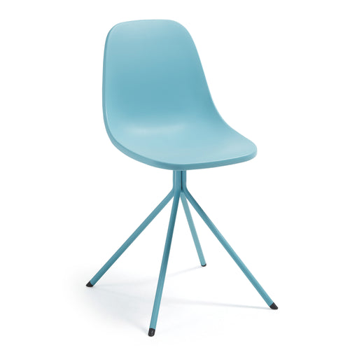 Marco Chair - Blue plastic seat and steel legs, Dining Chair - Home-Buy Interiors