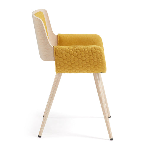 Quito Armchair -  Bentwood & quilted mustard fabric, Chair - Home-Buy Interiors