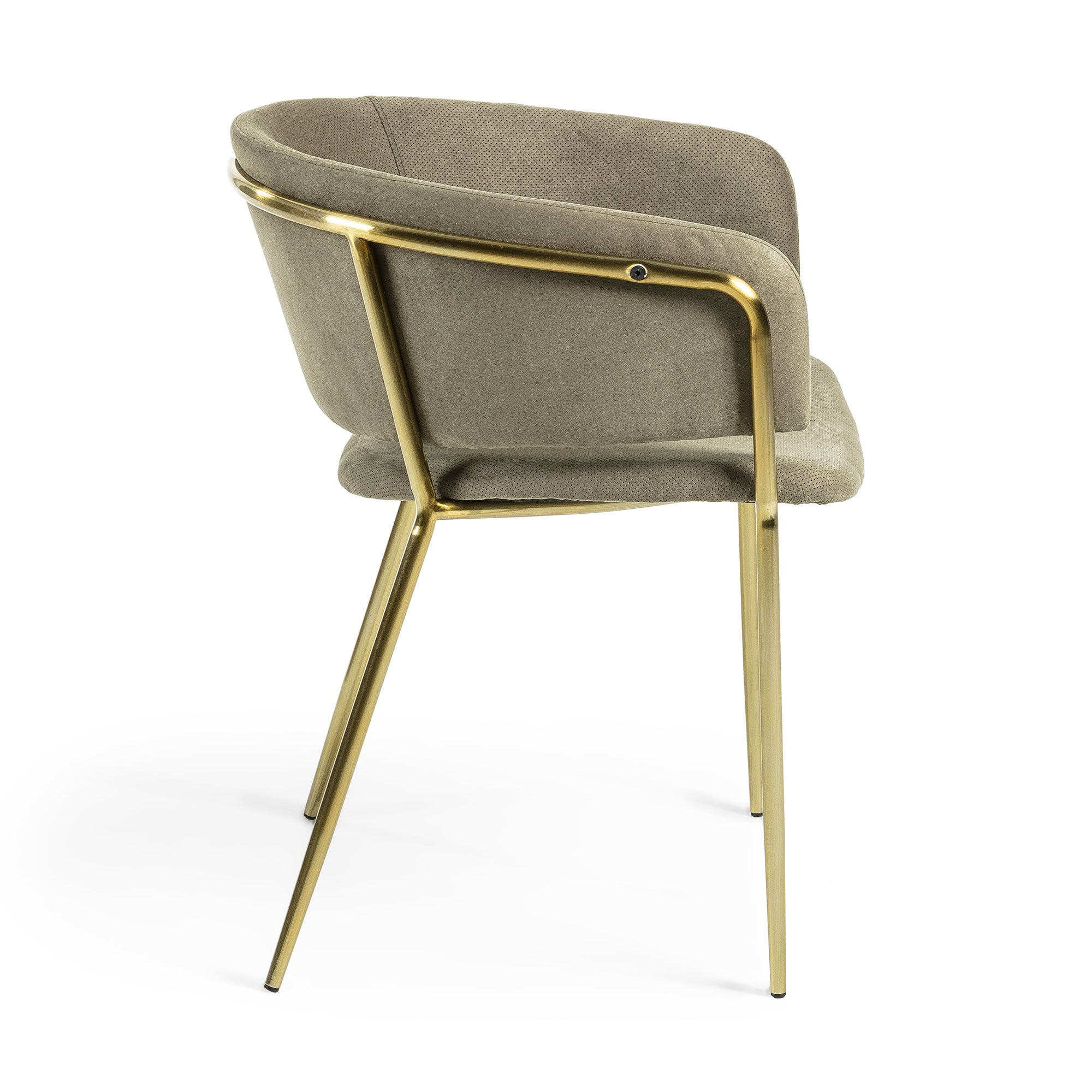 Kimbra Armchair Gold Metal Velvet Green, Dining Chair - Home-Buy Interiors