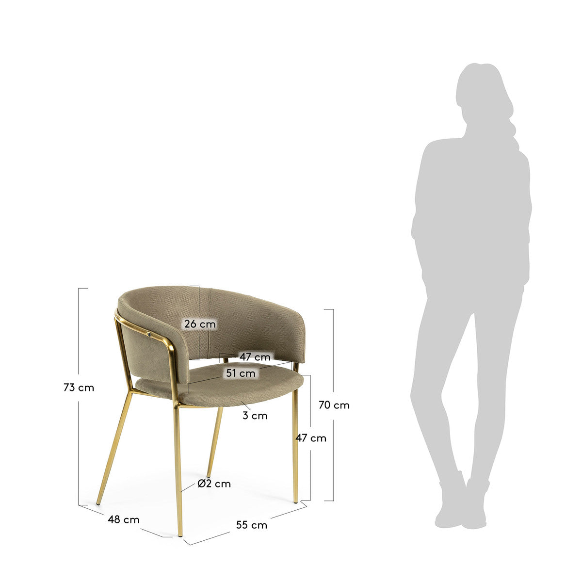 Kimbra Armchair - Green with Gold Metal Frame