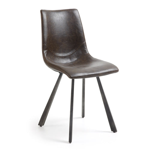 Tram Dark Brown Synthetic Leather Chair