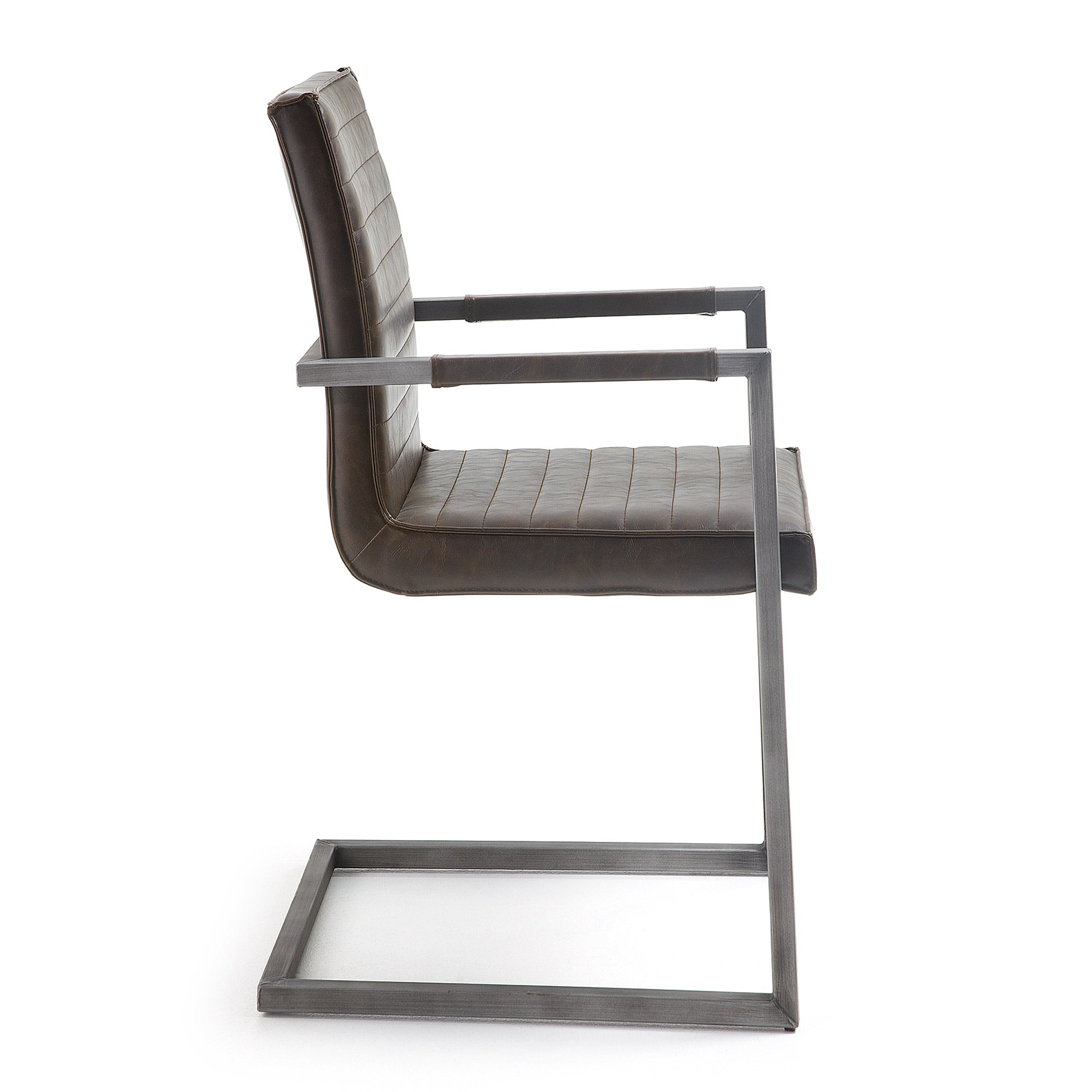 Yula Armchair in dark brown synthetic leather.