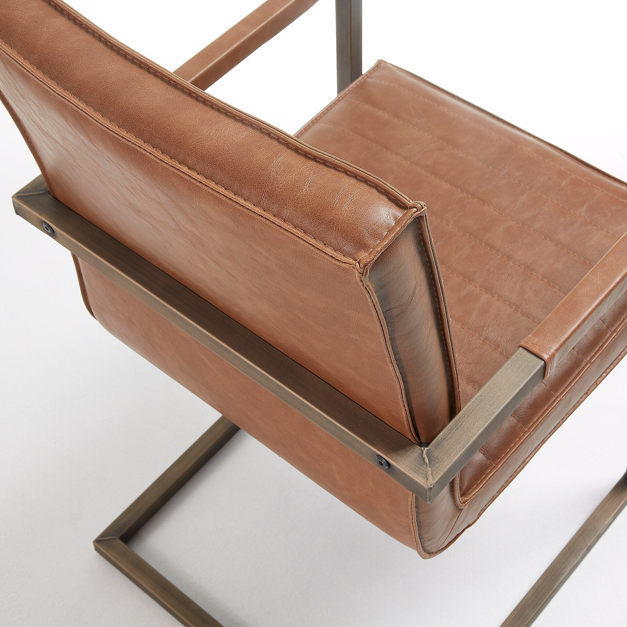 Yula Armchair in Rust Synthetic Leather