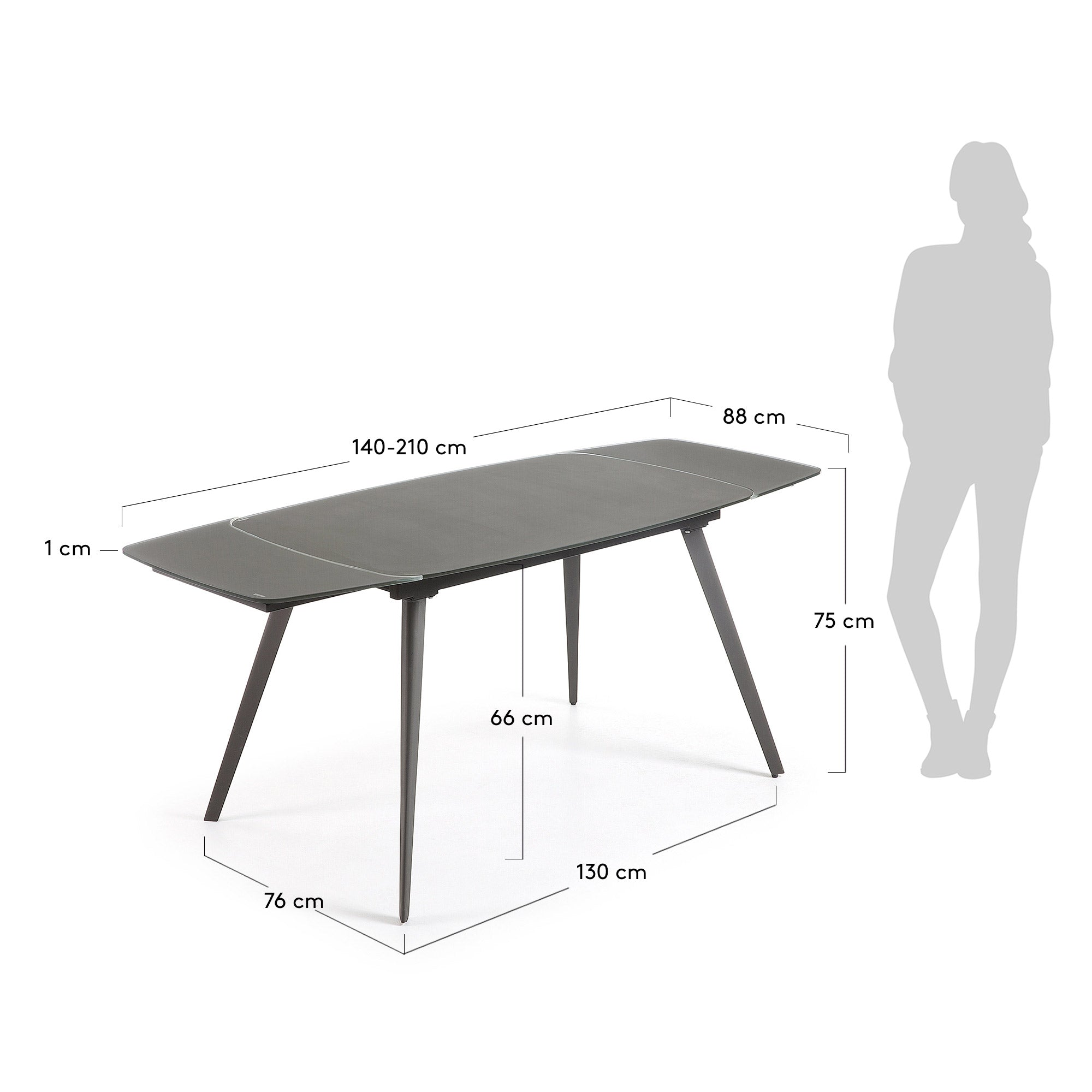 Fraser Glass extension Table 140-210 cm- Anthracite, Table - Home-Buy Interiors
