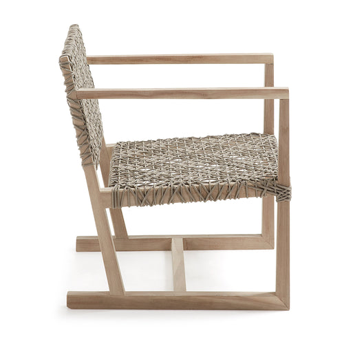 Vale Armchair - Constructed of Teak Wood and Rope in Beige, Armchair - Home-Buy Interiors