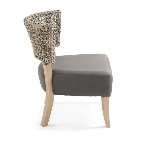 Clyne Armchair - Constructed of Teak Wood and Rope in Beige, Armchair - Home-Buy Interiors