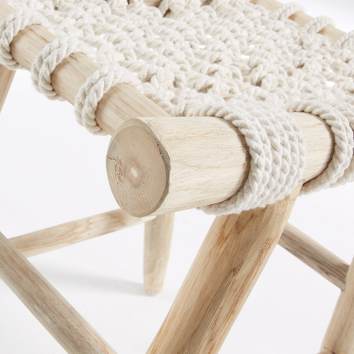 Eclectic Footrest teak wood & white cotton rope