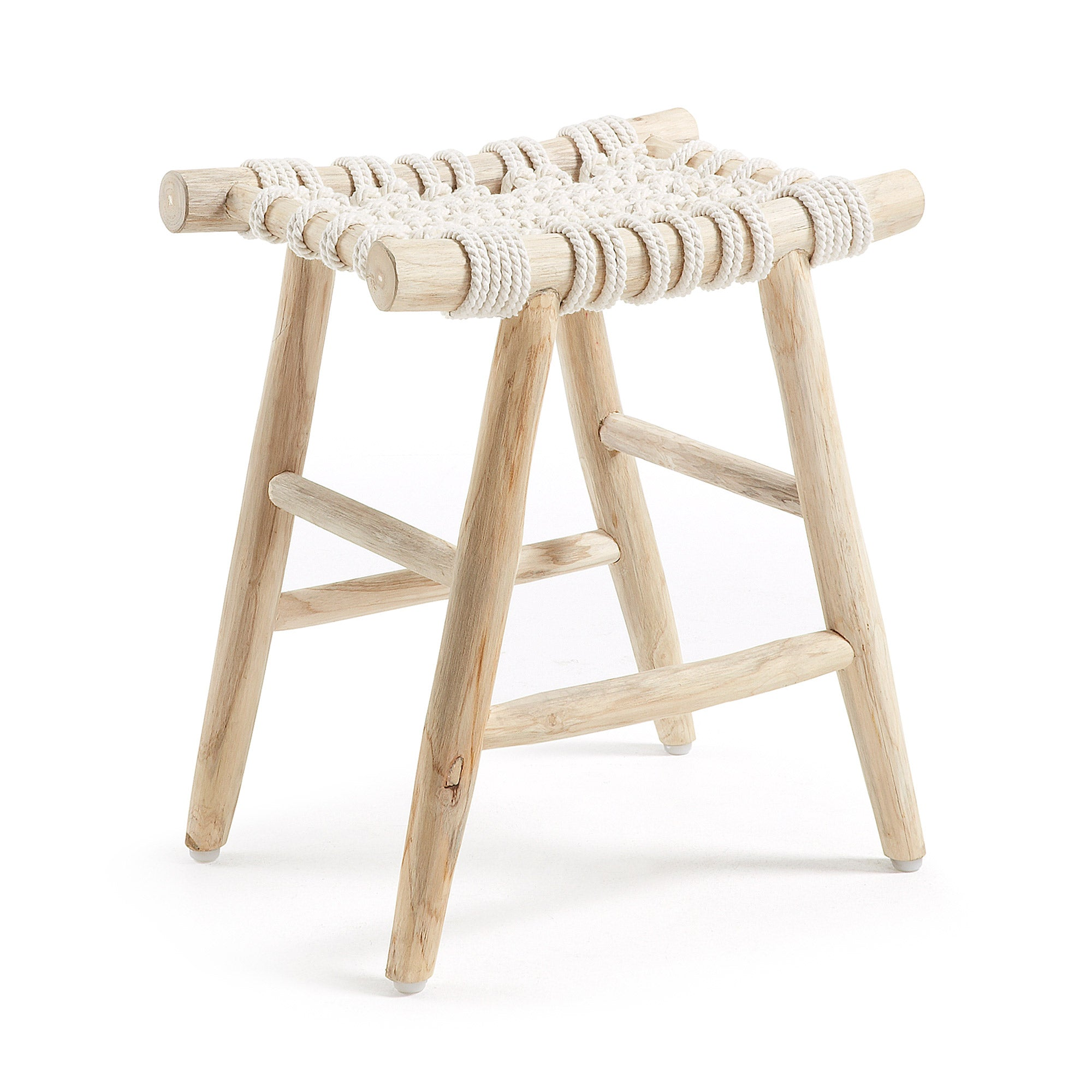 Eclectic Footrest teak wood cotton rope white - CC0441J33, Accessory - Home-Buy Interiors