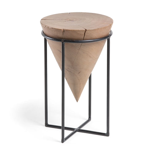 Adelle Side Table - Solid Wattle Timber with Black Painted Frame, SIde Table - Home-Buy Interiors