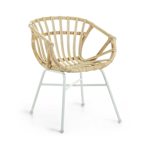 CONSTANT Chair white metal and natural rattan, Dining Chair - Home-Buy Interiors