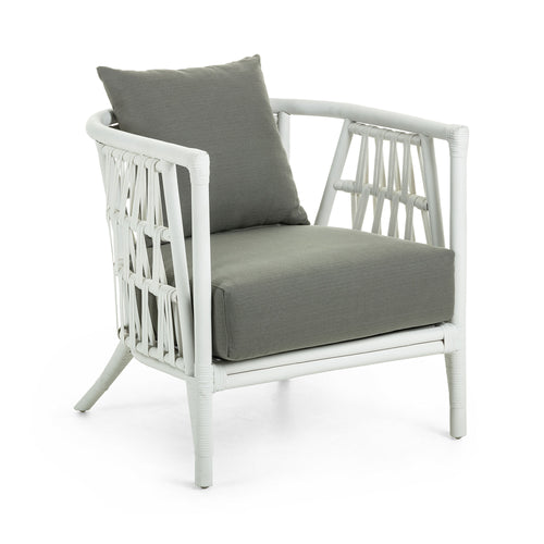 CRAMPTON Armchair white rattan and olive green fabric, Armchair - Home-Buy Interiors