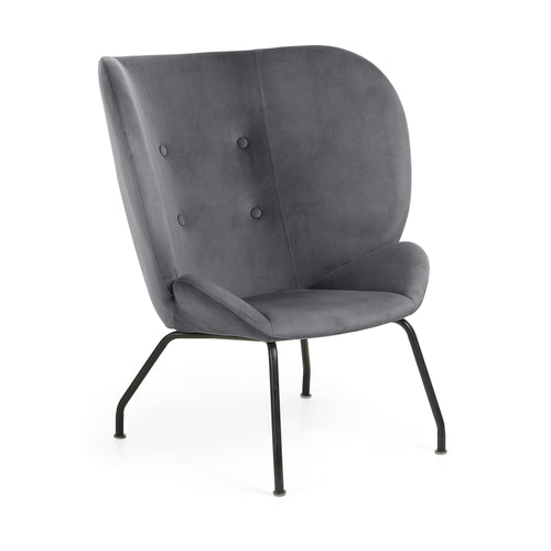 Tahla Armchair - Grey Velvet Fabric with 4 Fabric Covered Buttons, Armchair - Home-Buy Interiors