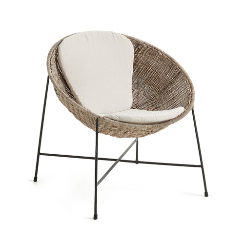 KATHRYN Armchair black metal and natural rattan, Armchair - Home-Buy Interiors
