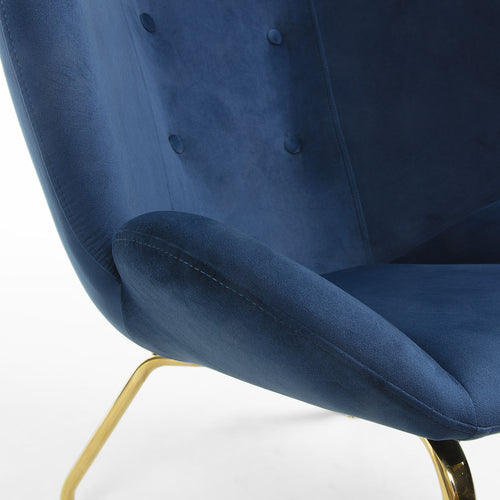 Tahla Armchair - Navy Velvet Fabric with 4 Fabric Covered Buttons, Armchair - Home-Buy Interiors