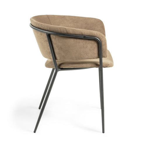 Kimbra Armchair black metal frame with light brown upholstery