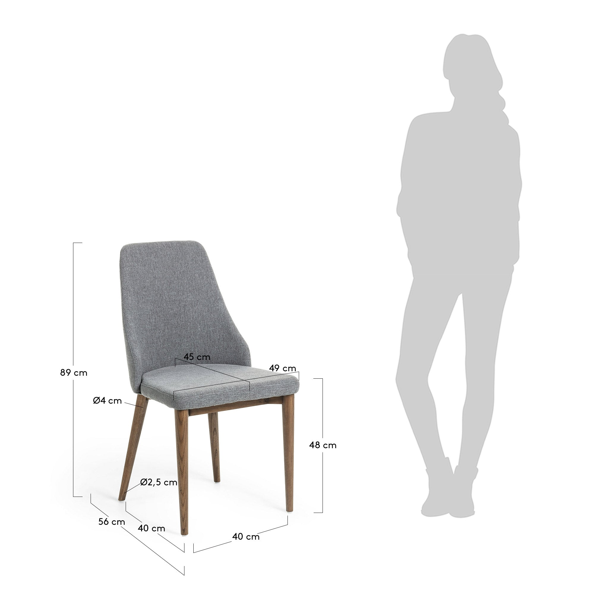 Roxette Chair LIght Grey Fabric with Walnut Leg