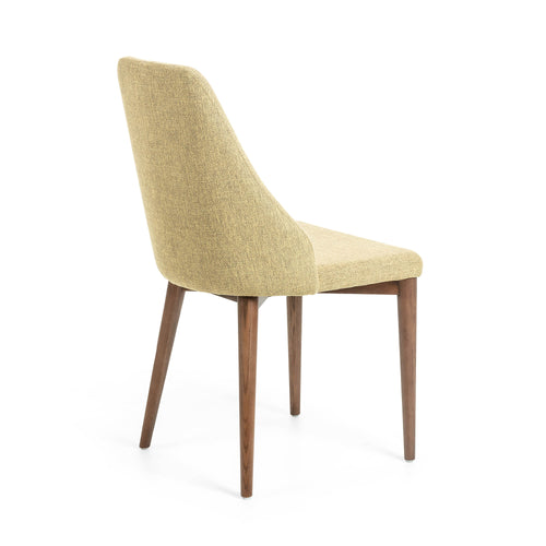 Roxette Chair Mustard Fabric with Walnut Leg