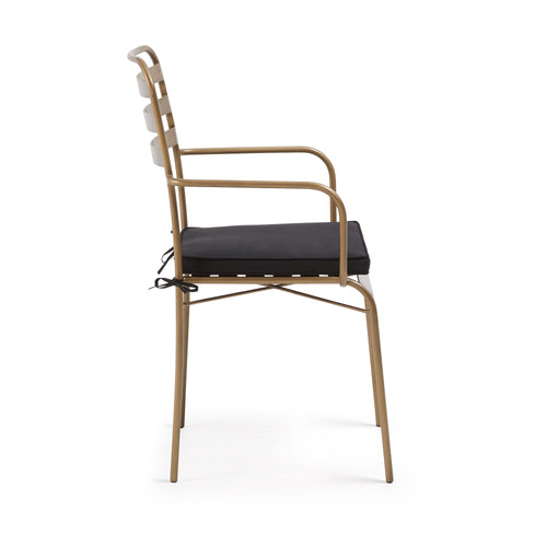 Carlotta Gold Metal Armchair with Black Fabric Seat Cushion