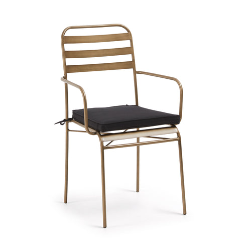 Kuala gold metal armchair with black fabric seat cushion, Dining Chair - Home-Buy Interiors
