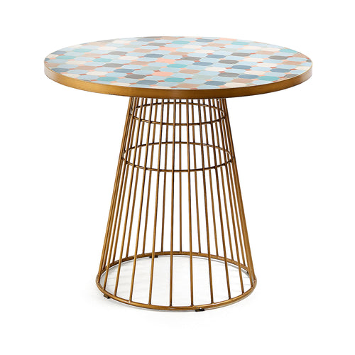 Eliah Mosaic and Gold Dining Table MAIN