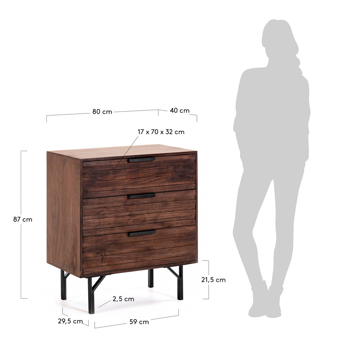 Atlas Chest of Drawers in Mahogany Finish