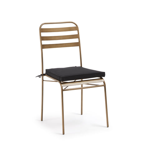 Carlotta Chair Gold Metal with Black Fabric Seat Cushion, Dining Chair - Home-Buy Interiors
