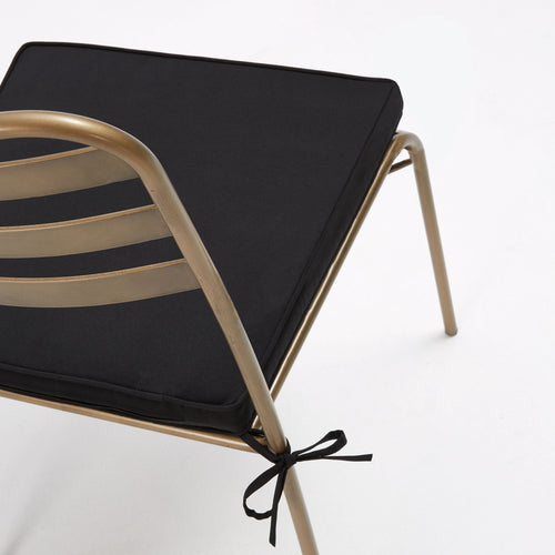 Carlotta Chair in Gold Metal with Black Fabric Seat Cushion