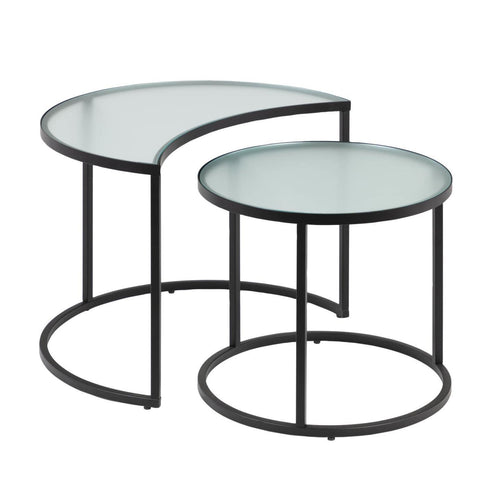 Bellbee Set of 2 Glass Nesting Tables